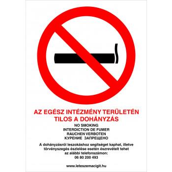 Tilos a dohányzás! új intézmény