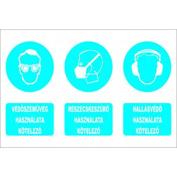 Védőszemüveg, részecskeszűrő, hallásvédő egybe