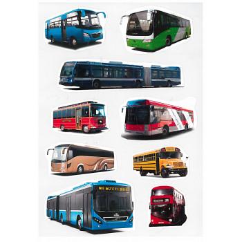 Gyerekmatricák A4 íven - Buszok