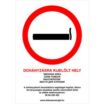 Dohányzásra kijelölt hely! új