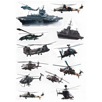 Gyerekmatricák A4 íven - Helikopterek, katonai gépek