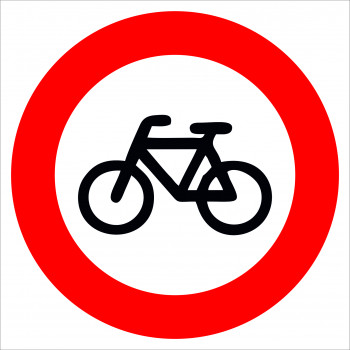 Kerékpárral behajtani tilos matrica