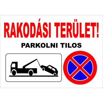 Rakodási terület! Parkolni tilos!
